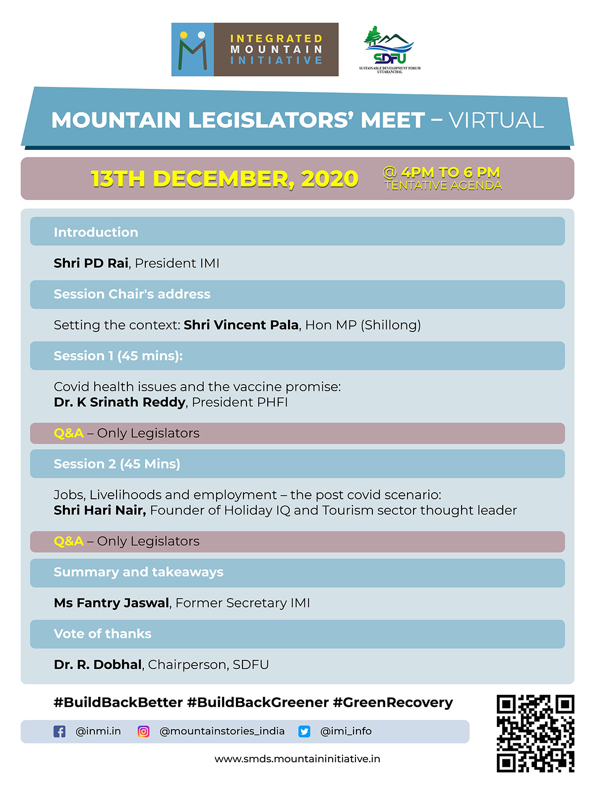 Agenda Mountain Legislators Meet